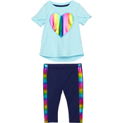 Gumballs Infant Girls Heart and Pom Poms Top and Capri Pants 2 pc. Set