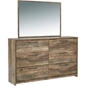 Signature Design by Ashley Rusthaven 6 Drawer Dresser and Mirror Set