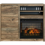 Signature Design by Ashley Rusthaven Media Chest with Fireplace Insert