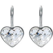 Swarovski Rhodium Plated Bella Heart Earrings