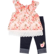 Little Lass Toddler Girls Printed Chiffon Floral Capris 2 pc. Set