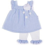 Little Lass Infant Girls Woven Seersucker Striped Top and Capri Pants 2 pc. Set