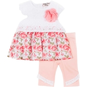 Little Lass Infant Girls Eyelet Poplin Printed Chiffon and Capri Pants 2 pc. Set
