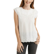 Lucky Brand Cap Sleeve Knit Woven Mix Top