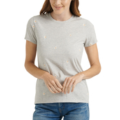 Lucky Brand Embroidered Daisy Crewneck Tee