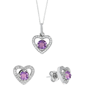 Genuine Amethyst Pendant and Earrings in Sterling Silver