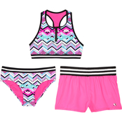 ZeroXposur Girls Soundwave 3 pc. Swimsuit Set