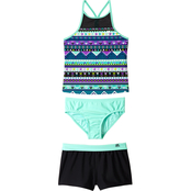 ZeroXposur Girls Fun Geo 3 pc. Swimsuit Set