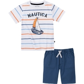 Nautica Little Boys Tee and Shorts 2 pc. Set