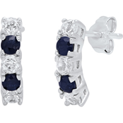 Sterling Silver Round Genuine Blue Sapphire and White Topaz Curved Earrings