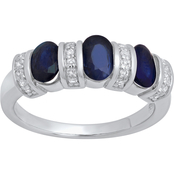 Sterling Silver Oval Genuine Blue Sapphire and White Topaz Ring