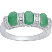 Sterling Silver Oval Genuine Emerald and White Topaz Ring