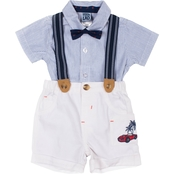 Little Lads Infant Boys Striped Shirt, Shorts, Suspenders and Bow Tie 4 pc. Set