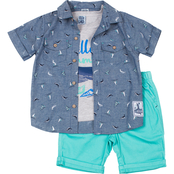 Little Lads Toddler Boys Hello Summer Shirt and Shorts 3 pc. Set