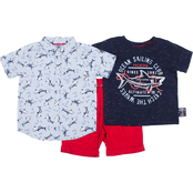 Little Lads Toddler Boys Ocean Sailing Club Shorts 3 pc. Set