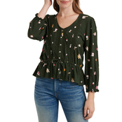 Lucky Brand Printed Tie Waist Top