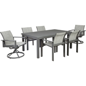 Signature Design by Ashley Okada Outdoor Table with 4 Sling Chairs, 2 Swivel Chairs