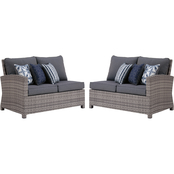 Signature Design by Ashley Salem Beach Outdoor RAF and LAF Loveseats with Cushions