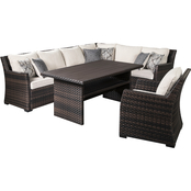 Signature Design by Ashley Easy Isle Outdoor Sofa Sectional with 1 Chair and Table