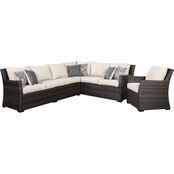 Signature Design by Ashley Easy Isle Outdoor Sofa Sectional with 1 Chair
