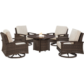 Signature Design by Ashley Paradise Trail Fire Pit Table with 4 Swivel Chairs
