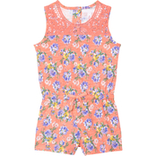 Gumballs Toddler Girls Fusion Coral Floral Romper with Crochet Trim