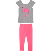Gumballs Toddler Girls Heather Gray Carmine Flamingo 2 pc. Capri Set