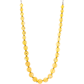 Carol Dauplaise Goldtone Pale Yellow Graduated Bead Long Necklace