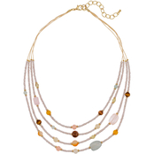 Carol Dauplaise Goldtone Multi Colored Four Row Beaded Layered Necklace
