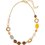 Carol Dauplaise Goldtone Multi Colored Linked Beaded Short Necklace
