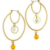 Carol Dauplaise Goldtone Double Hoop Bead Drop Earrings