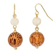 Carol Dauplaise Goldtone Double Wood Bead Drop Earrings