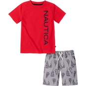 Nautica Little Boys Logo Tee and Shorts 2 pc. Set
