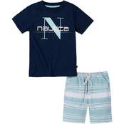 Nautica Little Boys 2 pc. Logo Tee Set