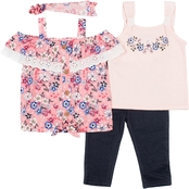 Little Lass Toddler Girls 3 pc. Printed and Disco Dots Challis Set