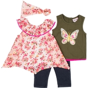 Little Lass Toddler Girls 3 pc. Butterfly and Floral Capri Set