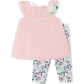 Little Lass Toddler Girls Woven Eyelet Top and Butterfly Capri Pants 2 pc. Set