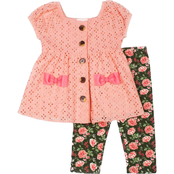 Little Lass Toddler Girls Woven Eyelet Top and Floral Capri Pants 2 pc. Set