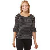 Michael Kors Railroad Stripe Gathered Peasant Top
