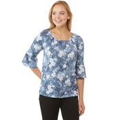 Michael Kors Bleached Floral Gathered Peasant Top