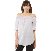 Michael Kors Yard Stripe Off Shoulder Top