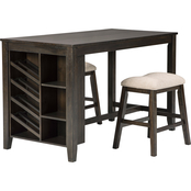 Signature Design by Ashley Rokane Counter Table with 2 Saddle Stools