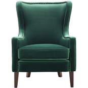 Steve Silver Rosco Velvet Accent Chair with Brass Nailhead Accents