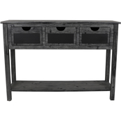 Decor Therapy Rowan 3 Drawer Weathered Chalkboard Console Table