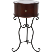 Decor Therapy Wilson 1 Drawer Wood and Metal Round Side Table