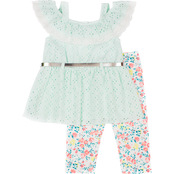 Little Lass Infant Girls Eyelet Lace Top and Printed Knit Capri Pants 2 pc. Set
