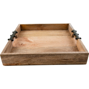 Thirstystone Mango Wood Tray with Metal Handles