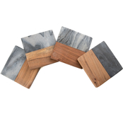 Thirstystone Gray Marble and Wood Coasters 4 pc. Set