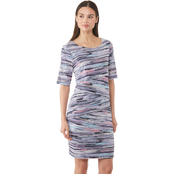 Connected Apparel Abs Stripe Asymmetrical Layer Dress