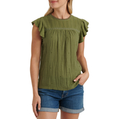 Lucky Brand Embroidered Woven Mix Top